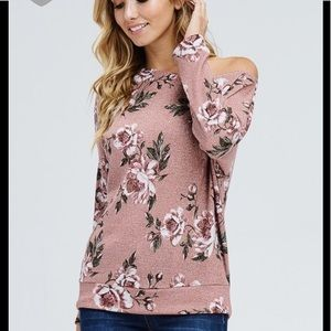 05f7aab34bc740 Tops - Floral one sided off shoulder knit top